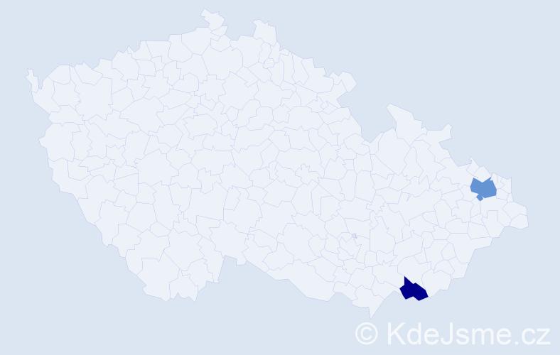 Příjmení: 'Ihnatiková', počet výskytů 3 v celé ČR