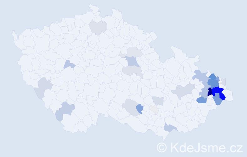 Příjmení: 'Kološová', počet výskytů 94 v celé ČR