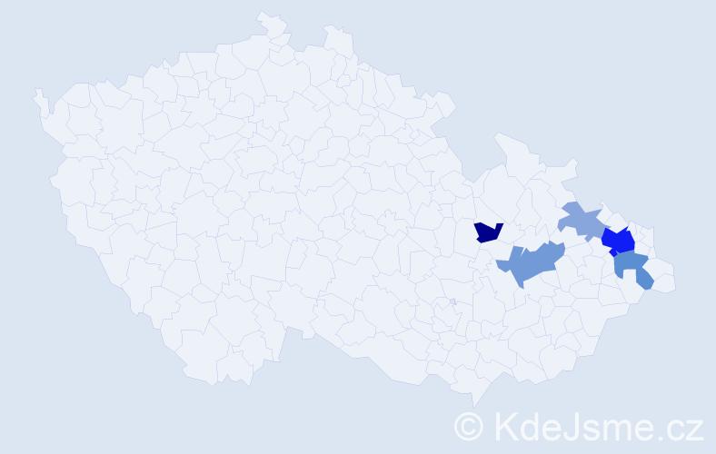 Příjmení: 'Kolašínová', počet výskytů 14 v celé ČR