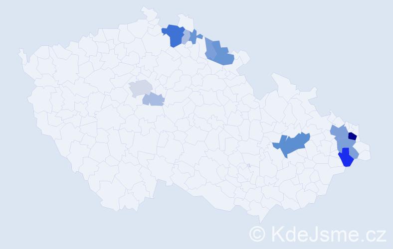 Příjmení: 'Gavor', počet výskytů 47 v celé ČR