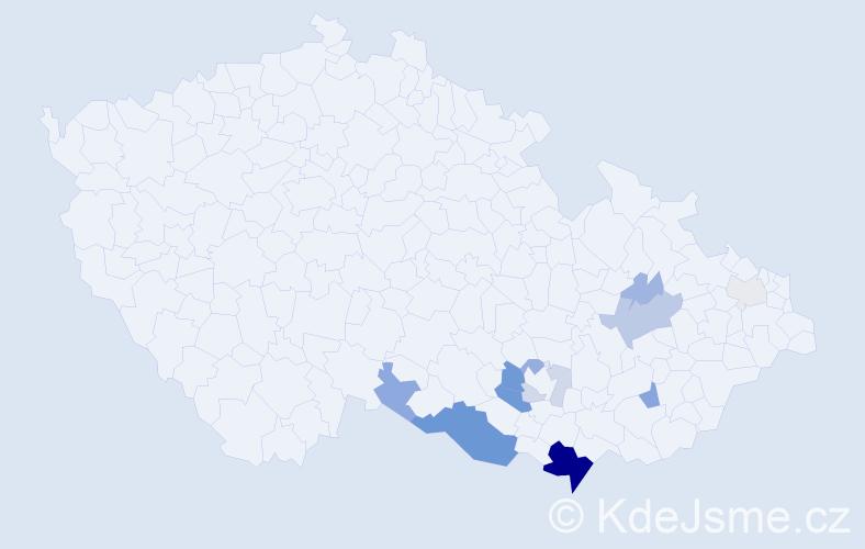 Příjmení: 'Bartolčic', počet výskytů 36 v celé ČR