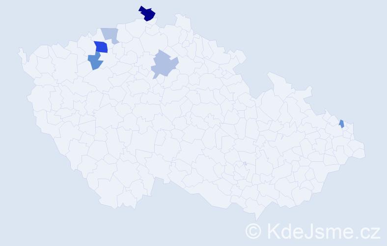 Příjmení: 'Ihlnová', počet výskytů 11 v celé ČR