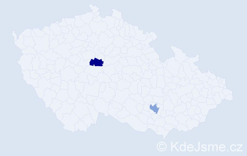 Příjmení: 'Ablová', počet výskytů 2 v celé ČR