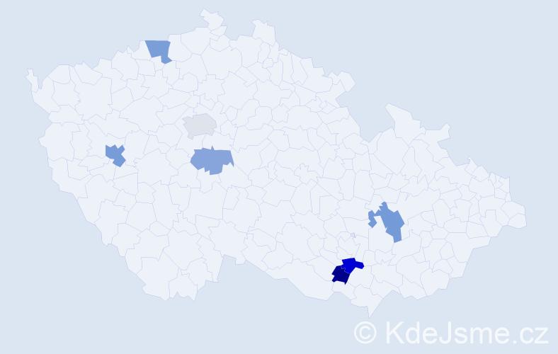 Příjmení: 'Bojová', počet výskytů 13 v celé ČR