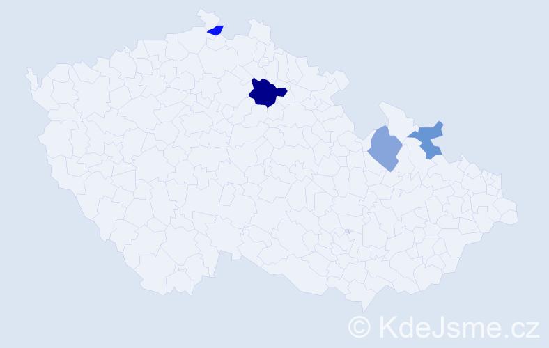Příjmení: 'Hrnčalík', počet výskytů 6 v celé ČR
