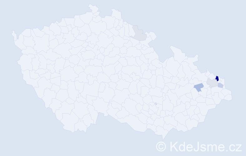 Příjmení: 'Lekki', počet výskytů 20 v celé ČR