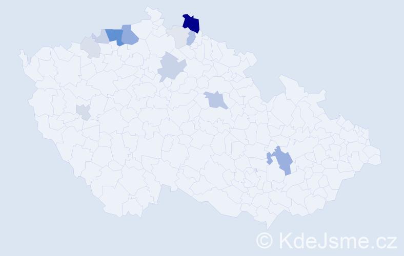 Příjmení: 'Ďuraško', počet výskytů 38 v celé ČR