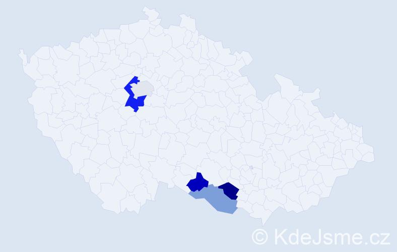 Příjmení: 'Dancingerová', počet výskytů 7 v celé ČR