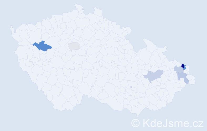 Příjmení: 'Gelner', počet výskytů 12 v celé ČR