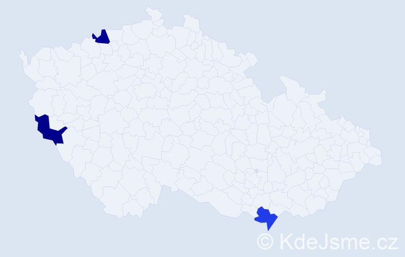 Příjmení: 'Gajdárová', počet výskytů 3 v celé ČR