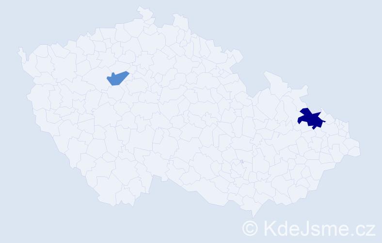 Příjmení: 'Kminek', počet výskytů 3 v celé ČR