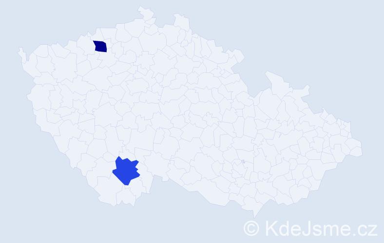 Příjmení: 'Erlacher', počet výskytů 2 v celé ČR