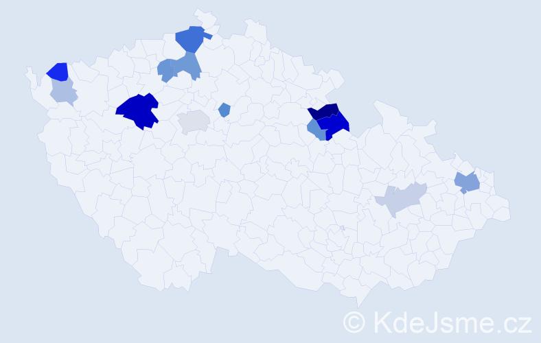 Příjmení: 'Barilla', počet výskytů 30 v celé ČR