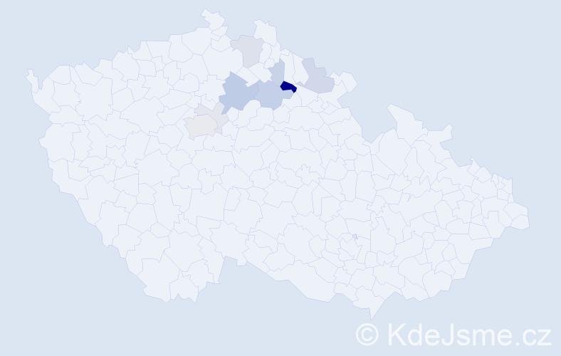 Příjmení: 'Jirutka', počet výskytů 23 v celé ČR