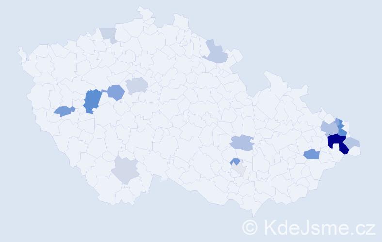 Příjmení: 'Čaplová', počet výskytů 48 v celé ČR