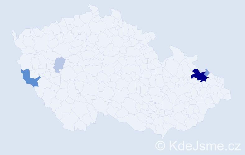 Příjmení: 'Godovský', počet výskytů 20 v celé ČR