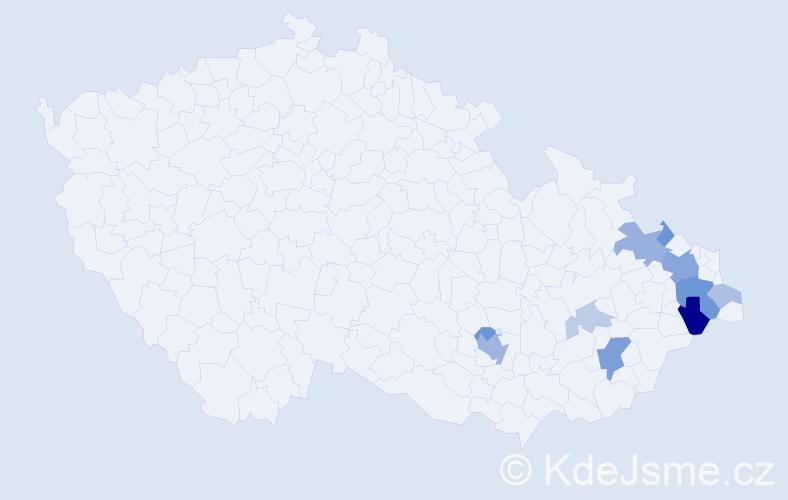 Příjmení: 'Kudělásková', počet výskytů 27 v celé ČR