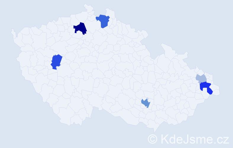 Příjmení: 'Dojčáková', počet výskytů 11 v celé ČR