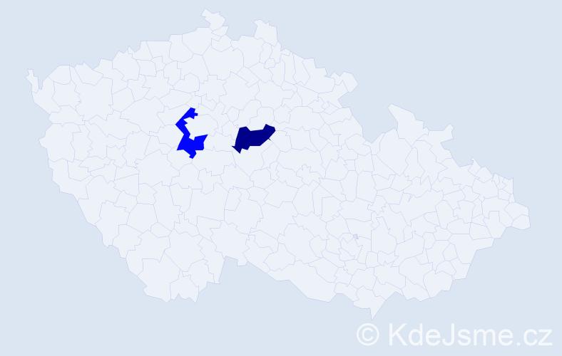 Příjmení: 'Dovjak', počet výskytů 4 v celé ČR