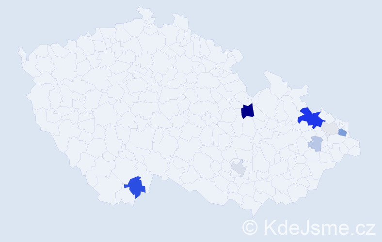 Příjmení: 'Bilerová', počet výskytů 24 v celé ČR