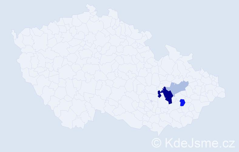 Příjmení: 'Činoch', počet výskytů 7 v celé ČR