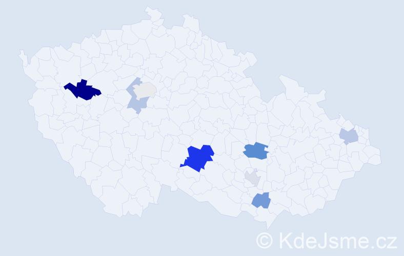 Příjmení: 'Grűnová', počet výskytů 15 v celé ČR