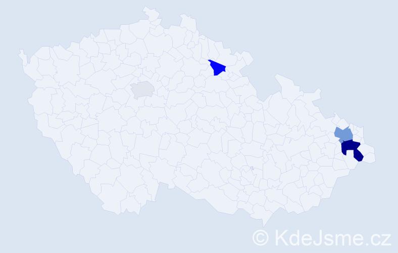 Příjmení: 'Golaňová', počet výskytů 9 v celé ČR