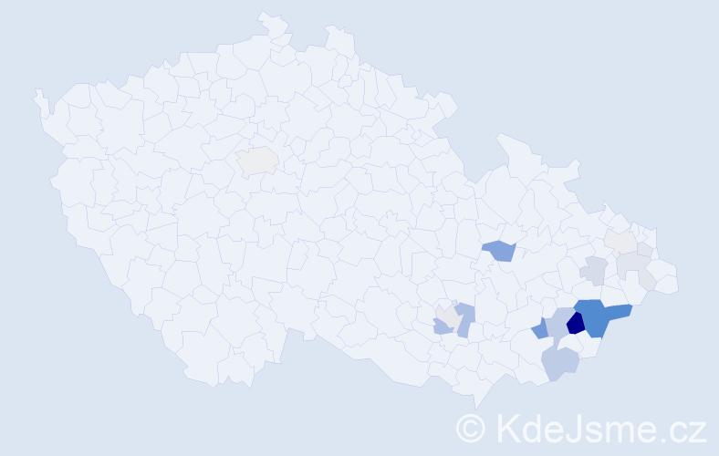 Příjmení: 'Čapáková', počet výskytů 39 v celé ČR