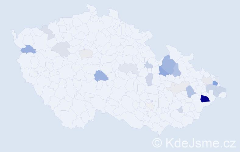 Příjmení: 'Kantorková', počet výskytů 62 v celé ČR