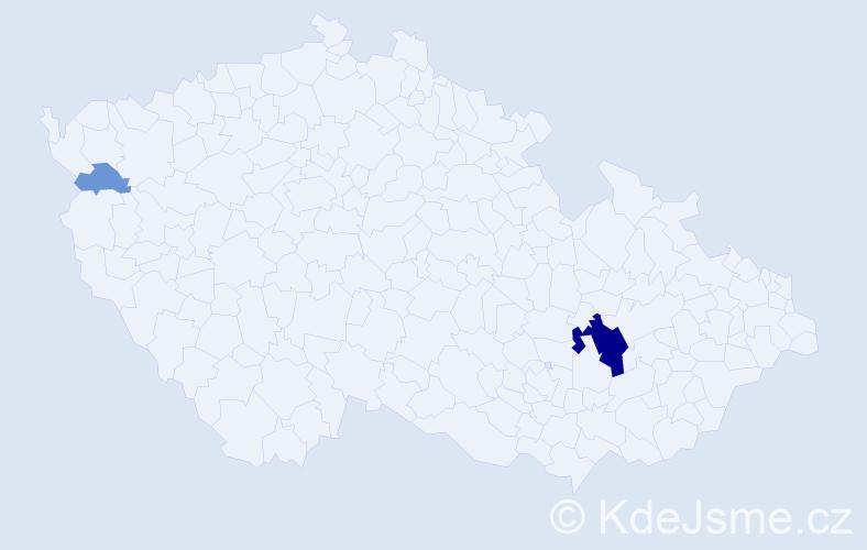 Příjmení: 'Čepý', počet výskytů 10 v celé ČR