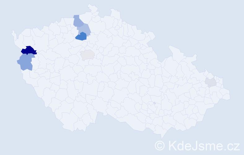 Příjmení: 'Hulena', počet výskytů 12 v celé ČR