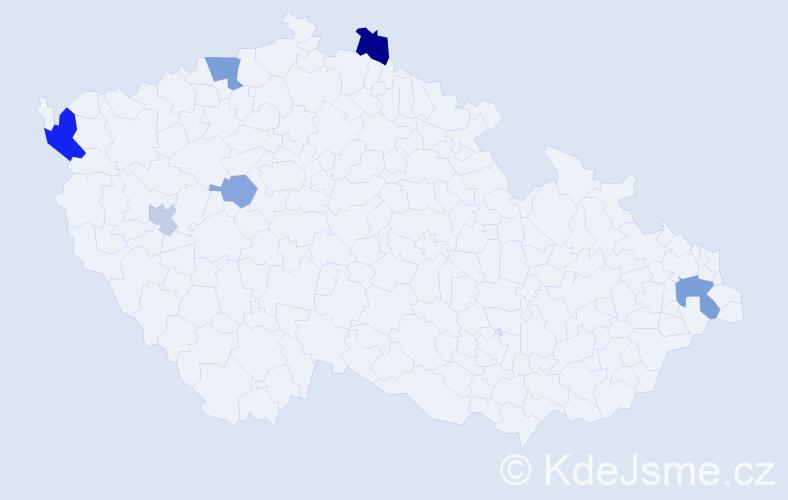 Příjmení: 'Capuličová', počet výskytů 11 v celé ČR