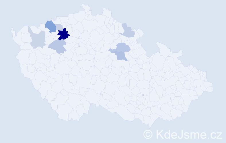 Příjmení: 'Čimpera', počet výskytů 18 v celé ČR