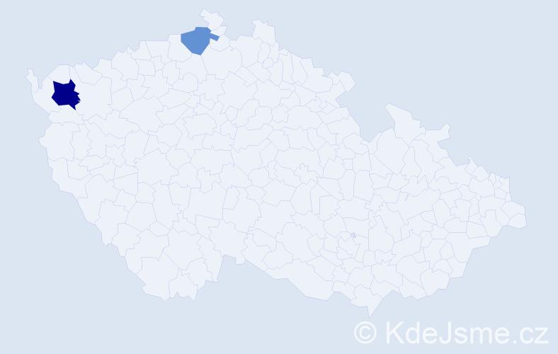 Příjmení: 'Árvová', počet výskytů 7 v celé ČR