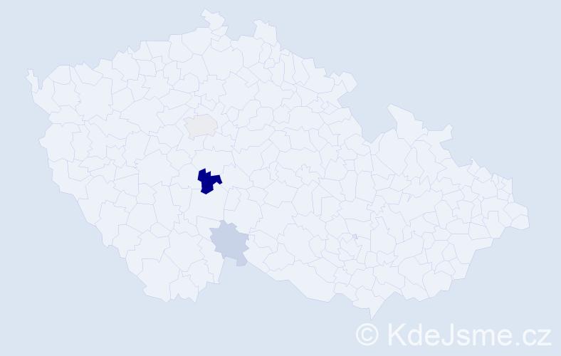 Příjmení: 'Kýval', počet výskytů 6 v celé ČR
