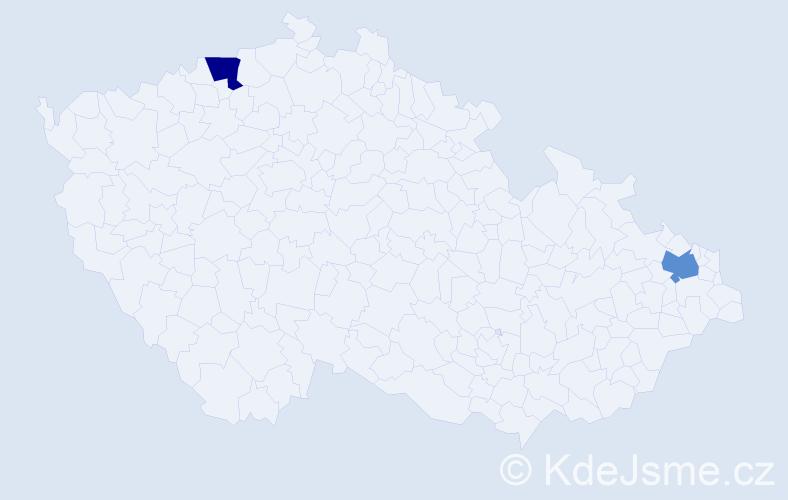 Příjmení: 'Galiková', počet výskytů 2 v celé ČR