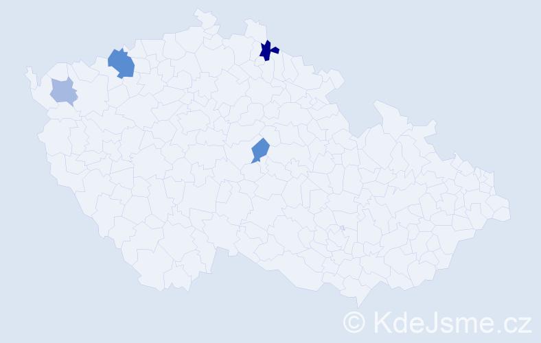 Příjmení: 'Charoust', počet výskytů 7 v celé ČR