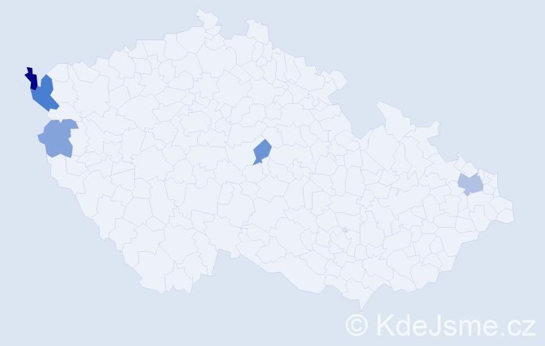 Příjmení: 'Dallos', počet výskytů 10 v celé ČR
