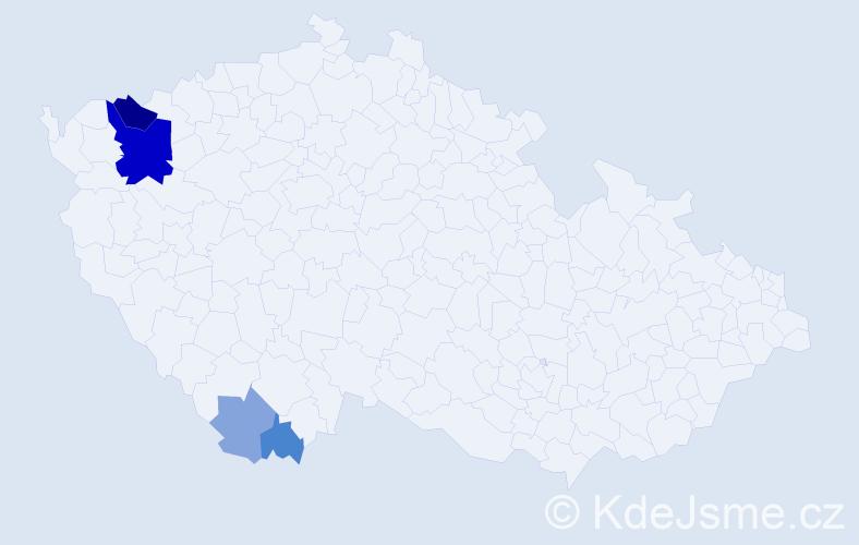 Příjmení: 'Kollarov', počet výskytů 12 v celé ČR