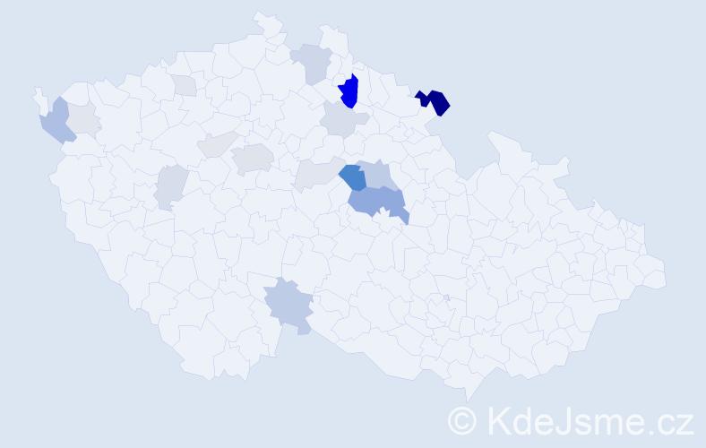 Příjmení: 'Hypšman', počet výskytů 55 v celé ČR