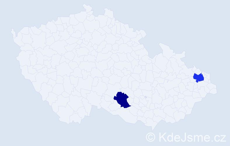 Příjmení: 'Ďurický', počet výskytů 6 v celé ČR