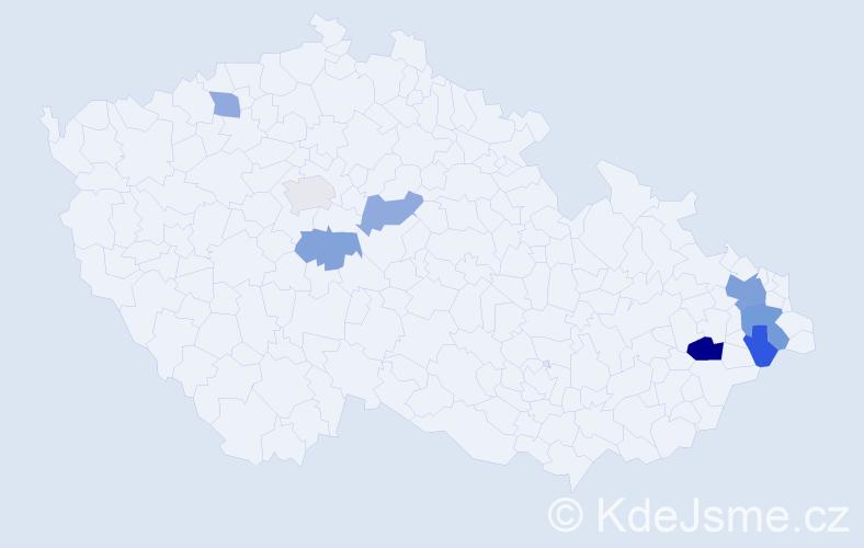 Příjmení: 'Bartecký', počet výskytů 14 v celé ČR