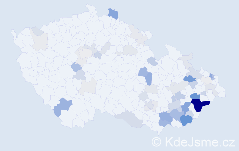 Příjmení: 'Běťák', počet výskytů 191 v celé ČR