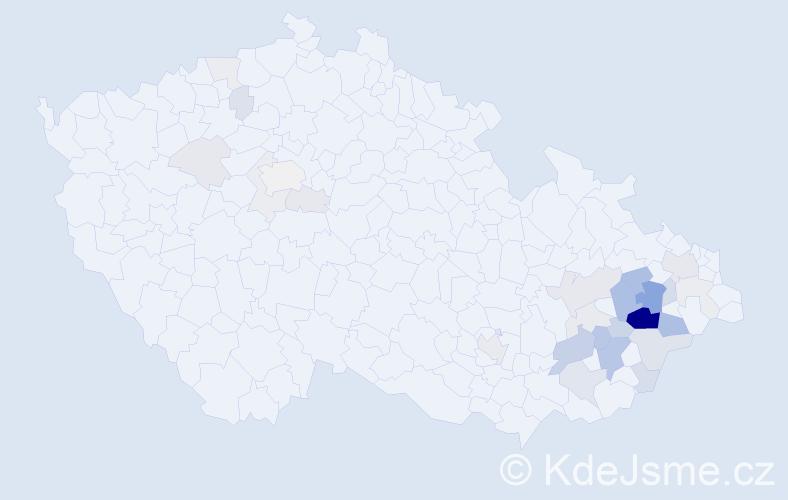 Příjmení: 'Halašta', počet výskytů 95 v celé ČR