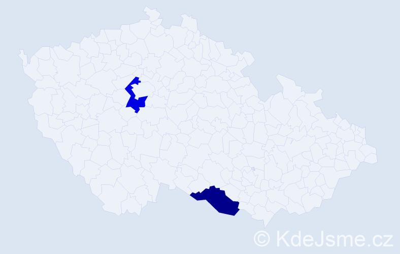 Příjmení: 'Frucková', počet výskytů 2 v celé ČR