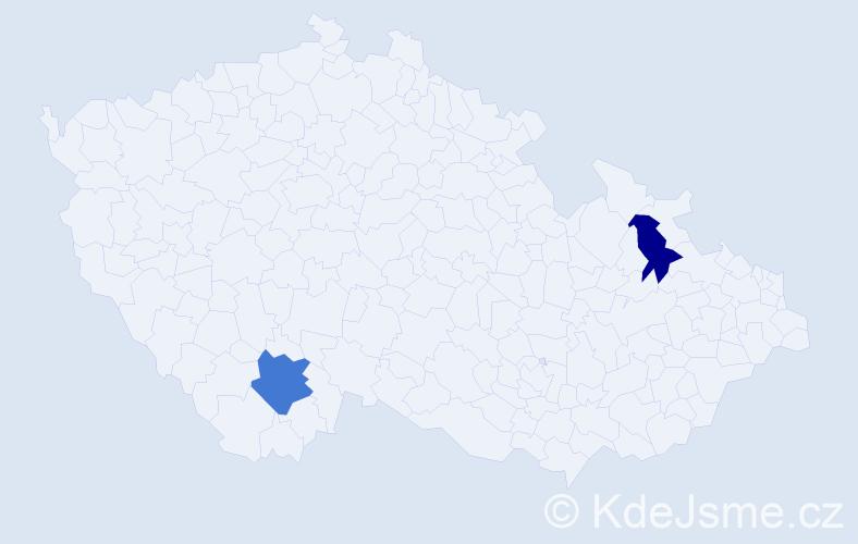 Příjmení: 'Kalma', počet výskytů 5 v celé ČR