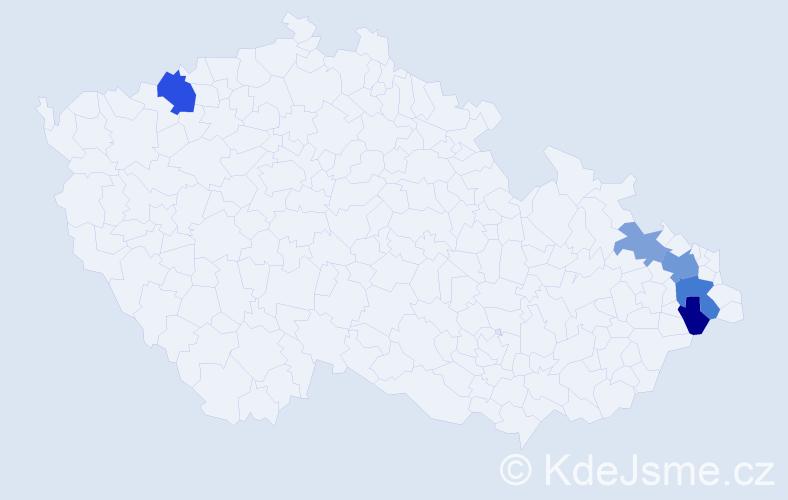 Příjmení: 'Ježiková', počet výskytů 9 v celé ČR