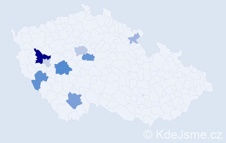Příjmení: 'Haš', počet výskytů 24 v celé ČR
