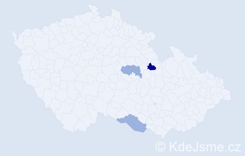 Příjmení: 'Čereba', počet výskytů 4 v celé ČR