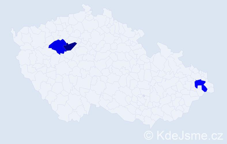 Příjmení: 'Kimlička', počet výskytů 9 v celé ČR